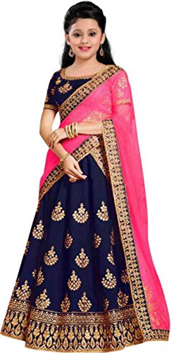 Ethnos Fashion girls taffeta silk smooth semi-stitched lehenga choli for girls 9-13 years – fancy fashionable beautiful trending designer wear embroidered ghagra cholis suit