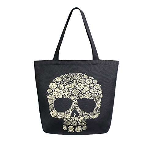 Damen Einkaufstasche aus Segeltuch mit Totenkopf-Motiv für Bücher, Tag der Toten, DIY Handwerk Casual Schulter Arbeit Lunch Bag Geschenk Taschen für Lehrer Student Mutter Strand Party Büro