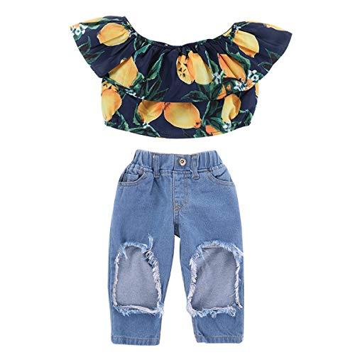 Topsale-ycld Kid Shirt bébé à Volants Mangue + Jeans Creux Jeans en Coton (Color : 90CM)