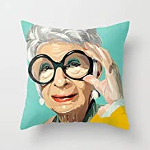 Square Throw Pillow Case Cover Cotton, Decorative Pillow Cover Cushion Cover for Home Sofa Car, 16x16 Inch - Iris Apfel Tw