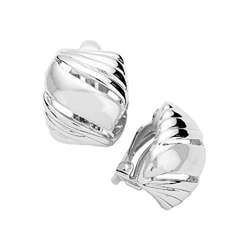 Schmuckanthony Hoernel Trendy Clip-On Hoop Earrings with Silver Motif 2 cm Long