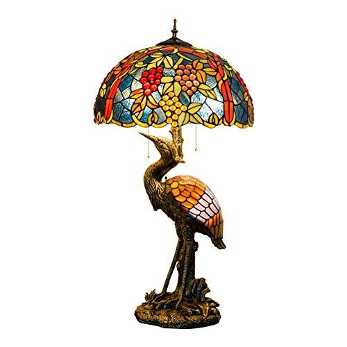 BINGFANG-W dormitorio Hombre del estilo de Tiffany lámpara de escritorio de la grúa, persiana 50CM uva fruto de la lámpara de cristal, luz de la noche Adecuado for decorar la habitación lámpara de mes