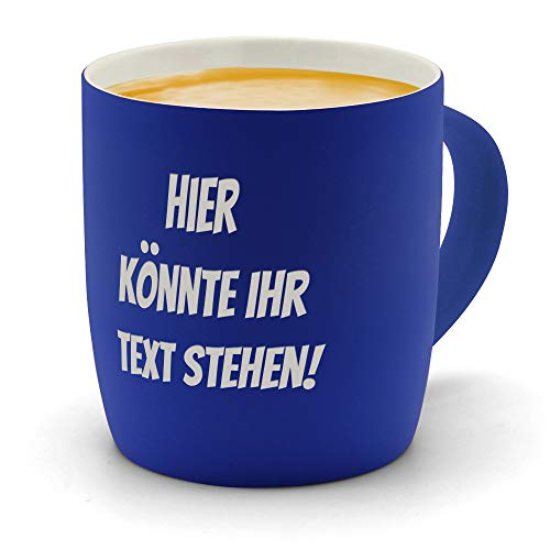 printplanet - Kaffeebecher mit eigenem Text graviert - SoftTouch Tasse mit Wunschtext - Matt-gummierte Oberfläche - Farbe Blau