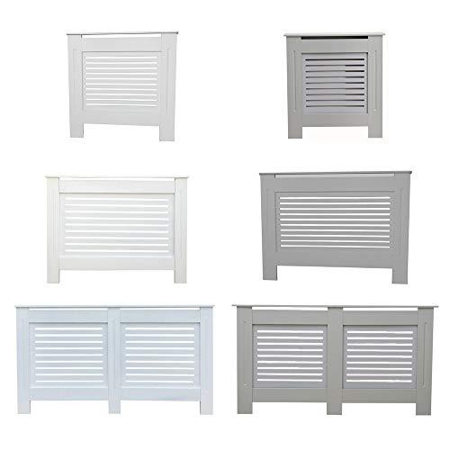 Kensington Radiator Cover Modern MDF Wood White Grey Horizontal Slat Living Room Bedroom Hallway Cabinet (Medium Grey)