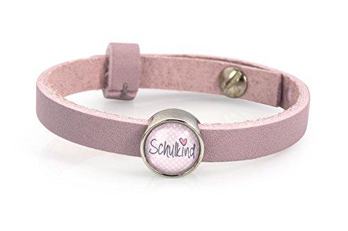 Lederarmband - rosa, mit Schulkind Schiebeperle, Armband mit Cabochon in rosa