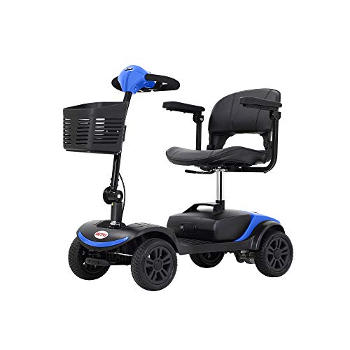Metro Mobility Lite Compact Travel Electric Power Mobility Scooter for Adults - 265 lbs Max Weight, 4 Wheel, 18 in Width Leather Seats, Large Capacity Lead-Acid Battery, Matte Blue