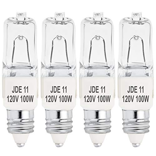 4-Pack JDE11 120V 100W Halogen JDE11 100W Bulb Warm White 100 Watt T4 E11 Bulb JD E11 T4 100W for Chandeliers, Pendants, Table Lamps, Cabinet Lighting, Mini-Candelabra Base T4 Bulb, by Bluex Bulbs