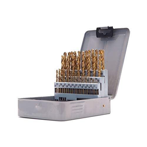 51-piece Metric Index Drill Bit Set, 1.0-6.0 mm in 0.1 mm Increments, HSS with Titanium Nitride (TiN) Coating