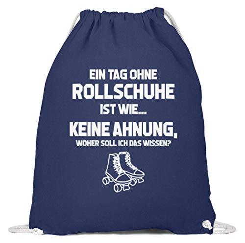 shirt-o-magic Rollerskates: Tag ohne Rollschuhe? Unmöglich! - Baumwoll Gymsac -37cm-46cm-Marineblau