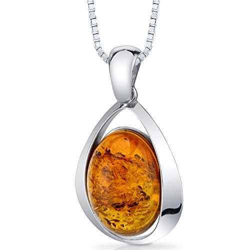 Baltic Amber Large Pendant Necklace Sterling Silver Cognac Color Oval Shape
