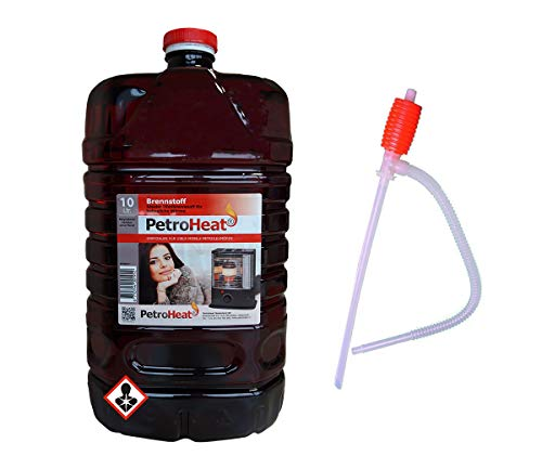 CAGO Petroleum 10 L Liter Kanister inkl. Handpumpe Brennstoffpumpe für Petroleumofen Heizofen geruchsarm 20
