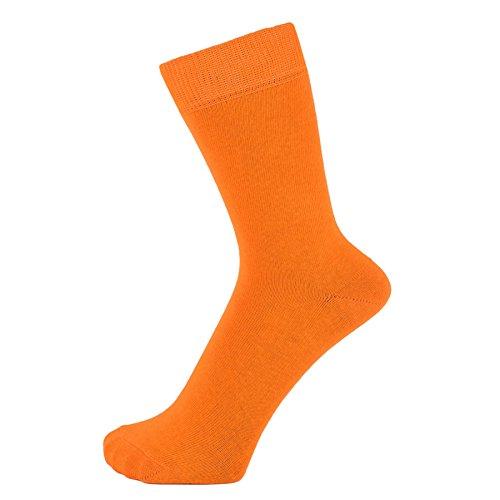 ZAKIRA Elegante Einfarbige Socken aus Feinster Gekämmter Baumwolle in Lebendigen Farben für Damen und Herren (Orange, 39-46)