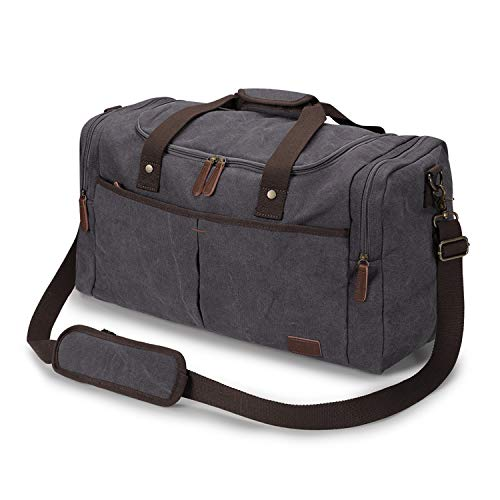 S-ZONE Canvas Duffel Bag Travel Weekend Overnight Bag with Shoes Compartment for Men