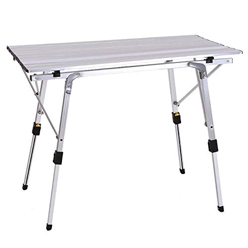 Outdoor Folding Table Chair Camping Aluminium Alloy BBQ Picnic Table Waterproof Durable Folding Table Desk for 90 * 53cm