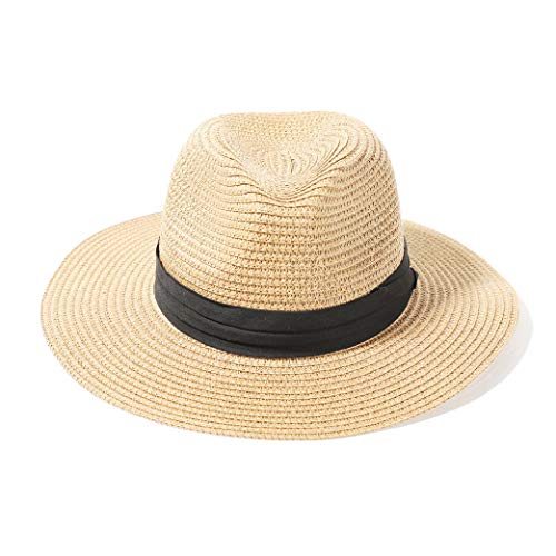accsa Sombrero de Paja para Mujer y Hombre Ajustable Sombrero de Panamá para Playa Sombrero Fedora de Verano con ala Ancha Plegable Sombreros para el Sol Anti-UV para Viajes al Jardín