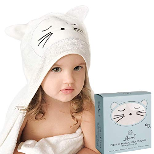 Lilyseed Organic Bamboo Baby Hooded Towel & Washcloth Gift Set for Infants &Toddlers - Hooded Bath Towels with Ears for Babies - Large Infant Towel for Girls & Boys - Perfect Shower Present -Cat