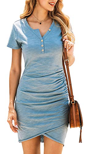 BTFBM Women's 2020 Casual V Neck Short Sleeve Ruched Bodycon T Shirt Short Mini Dresses with Faux Button (Grey Blue, Large)