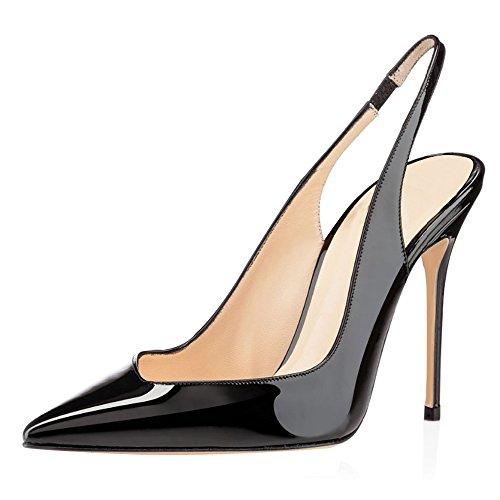 EDEFS Damen Slingback Pumps Spitze Zehen High Heels Bequeme Schuhe Schwarz Größe EU35