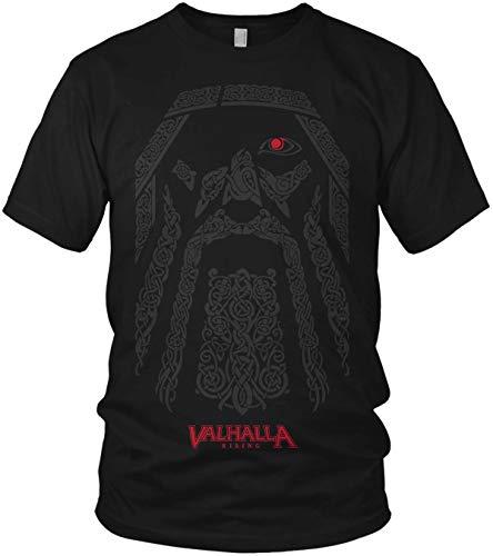 North - The Odin Runen Wikinger Rabe Valhalla Rising Walhalla Vikings Wodan - Herren T-Shirt und Männer Tshirt, Größe:XL, Farbe:Schwarz Valhalla Rot