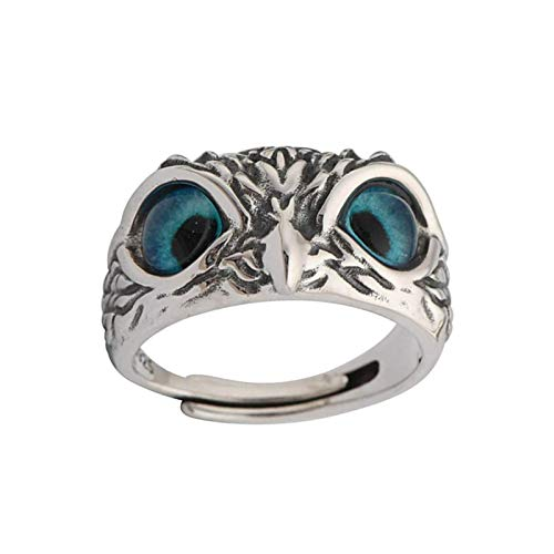 Taloit Anillo de búho tallado con ojo de demonio de cristal azul, anillo vintage de plata de ley 925, anillo abierto ajustable para hombres y mujeres