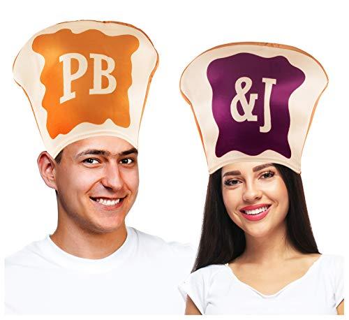 Tigerdoe Peanut Butter & Gelee Kostüm für Paare – Pb & J Kostüm – 2 Stück Kostüme – Lebensmittelhüte