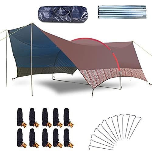 0℃ Outdoor Toldo Camping Impermeable 6 X 3.8 M, Hamaca Tienda de Campaña Portátil Ligera Impermeable Refugio con Accesorios para Camping, Senderismo, Mochila, Hamaca, Playa, Vivac,Brown a