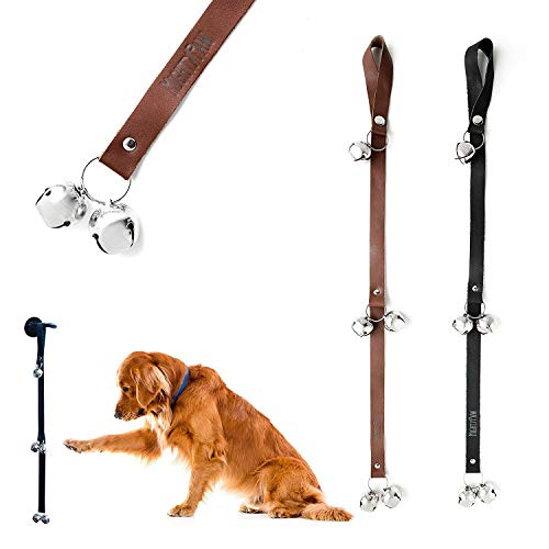 Mighty Paw Leather Tinkle Bells, Premium Leather Dog Doorbells, Extra Soft Leather with Durable Jingle Bells, Housetraining Doggy Door Bells for Potty Training (Brown)