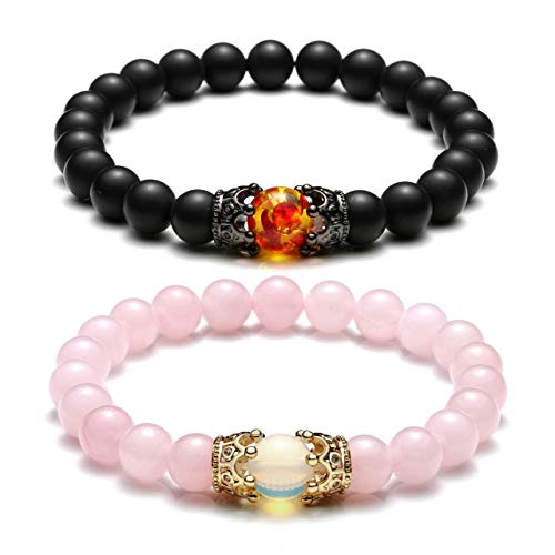 Top Plaza King&Queen Crown Distance Couple Bracelets His and Her Relationship Friendship Bracelet Mens Womens Gemstone Beads Stretch Bracelets - Black Matte Agate + Rose Quartz