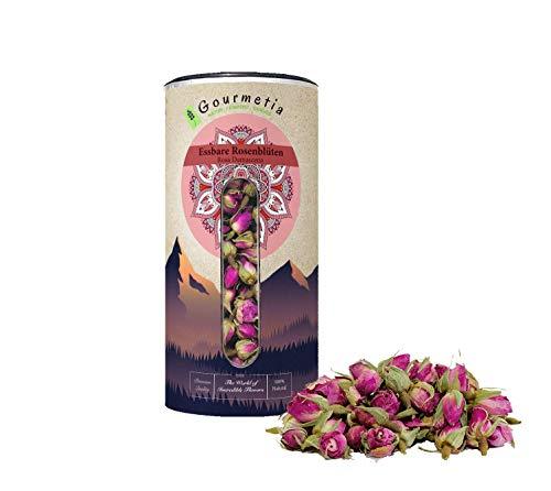 Gourmetia Rosenblüten, essbare getrocknete Rosenknospen von Rosa Damascena in Premium Qualität 100 Gramm - Rosenblütentee