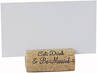 EMazing Goods Wine Cork Place Card Holders Custom Cork Card Holders Eat Drink & Be Married Set of 25 Includes Place Cards Escort Card Rustic Wine Cork Table Décor Wine Theme Wedding Cork Placecard