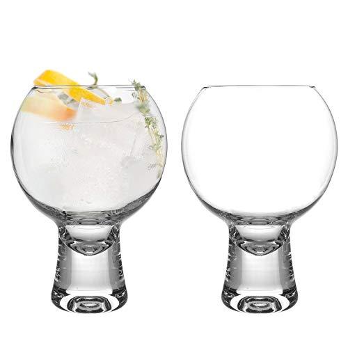 iStyle My Home 2 Piezas IKONIC Gin Vasos Set - Tallo Corto Globo español de Copa Balon Gin Tonic de Vidrio - 540ml