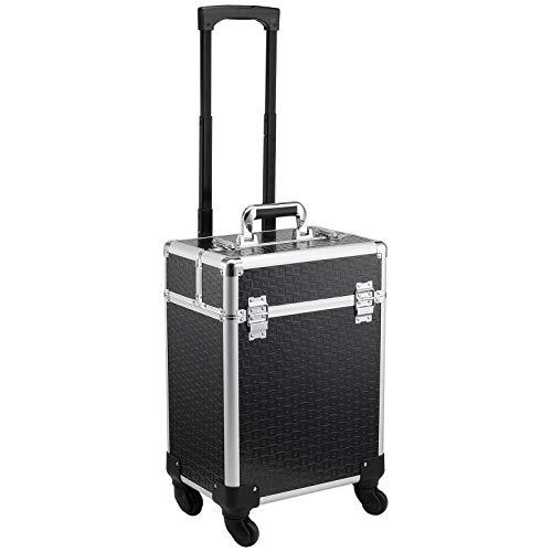 Valise trolley maquillage mallette cosmétique vanity poignée télescopique réglable 34L x 24l x 52H cm alu. noir