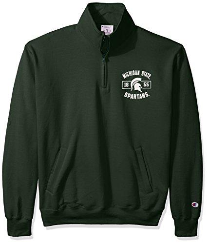 CHAMPION NCAA Herren Fleece-Jacke Michigan State Spartans Power Blend Quarter Zip Jacke, Größe L, Dunkelgrün