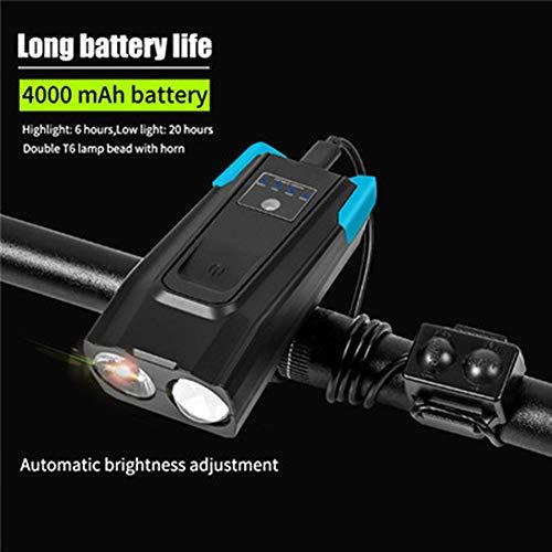 Takefuns 4000 mAh inducción Bicicletas lámpara delantera USB recargable inteligente faro con cuerno 800 lúmenes LED bicicleta montar linterna