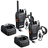 Rhinoco 2pcs Walkie Talkies, Rechargeable Long Distance Two Way Radio, Long Range Walkie Talkies with Original Earpieces with 16CH, Flashlight, Support VOX Function for Field Survival