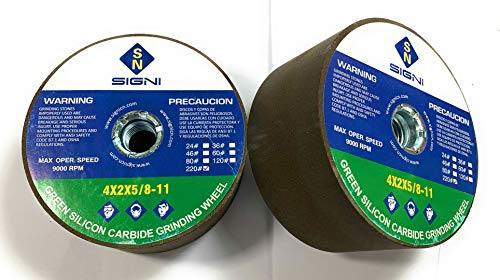 Green Grinding Stone with Thread for Grinding Granite 4X2X5/8-11 (1 Pack) (Grit 220)
