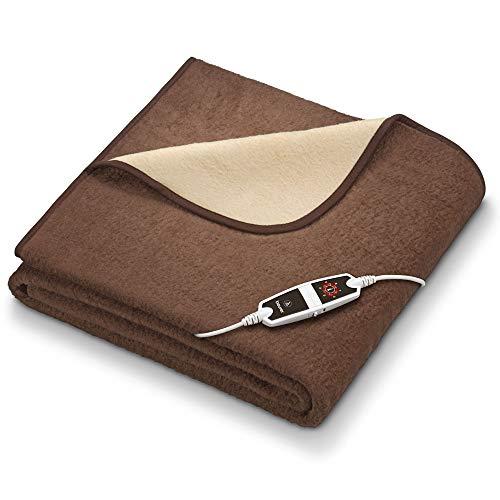 Beurer HD 100 elektrische deken, extra groot 200 x 150 cm, 6 temperatuurstanden, automatische uitschakeling, machinewasbaar, bruin/beige