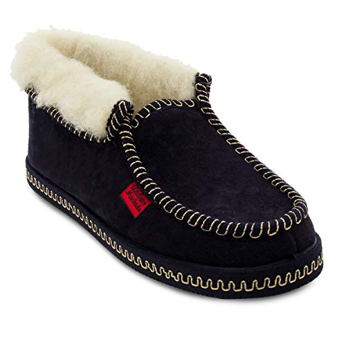 Andres Machado Unisex Hausschuhe in dunkelblau für Damen und Herren für den Winter – Slipper/Pantoffeln – 27902BAMARA – aus Velourgewirk mit Futter aus Lammfell und Rutschfester Gummisohle – EU 34