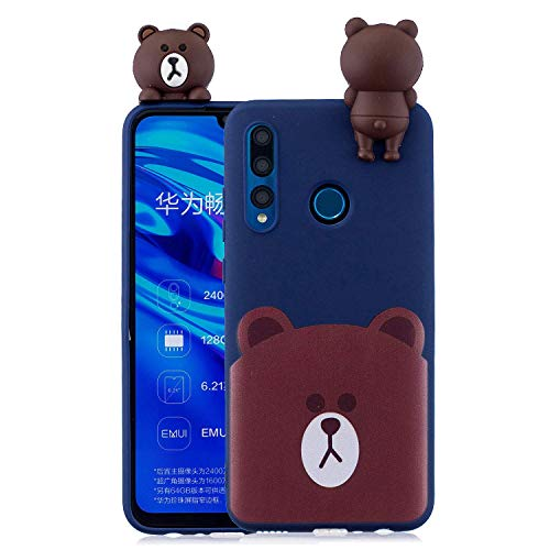 LAXIN Case for Huawei Y7 (2019), 3D Design Premium TPU Soft Silicone Gel Case with Cute Bear Pattern Flexible Protective Skin Cover for Huawei Y7 (2019)