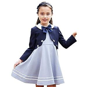 [utremi(ユトレミ)] 入学式 女の子 スーツ フラワーモチーフアンサンブル 115 120 130cm(2101-8301) (ネイビー, 130cm)