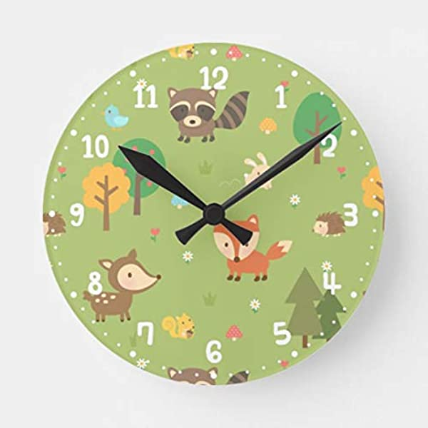 Forest Woodland Animal Pattern Kids Room Decor Wall Clock Battery Operated Art Silent Non Ticking Small Wood Clock 12 Inches