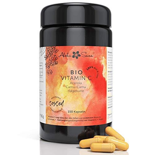 Aloha Sana   Natürliches BIO Vitamin C hochdosiert im Ultraviolettglass   Veganes Vit C in Kapseln aus Acerola, Camu Camu & Hagebutte   150 Stück made in Germany