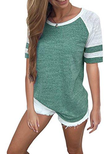 Hiistandd Damen Langarmshirt Farbblock Langarm Kurzarm T-Shirt Casual Rundhals Tunika Tops (Medium, Green Short)