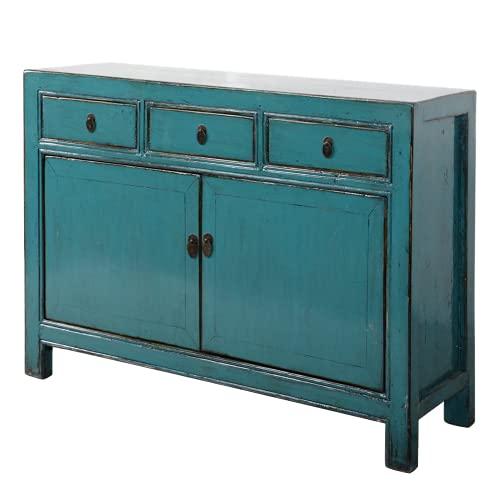 Fine Asianliving Aparador chino antiguo azul brillante W130xD39xH91cm Cómoda de cajones inspirado en Ming Muebles chinos orientales de madera pintada a mano asiática 130x91x39cm