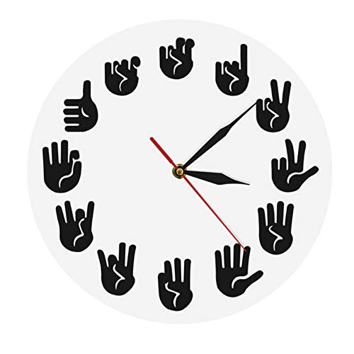 guyuell Horloge Murale American Sign Language ASL Gesture Horloge Moderne Regardez Les Équivalents des Heures Faites Exclusivement pour Les Sourds-Muets