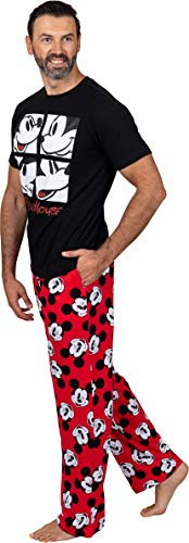 Disney Classic Men's Mickey Mouse Pajama Tee and Lounge Pant Set, Black/Red Mickey, Size X-Large