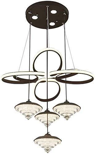 BUNUMO Lámpara de Techo de Cristal LED, iluminación Simple Creativa Moderna, lámpara de araña de Hierro Forjado
