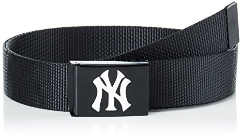 MSTRDS MLB Premium Black Woven Belt Single Ceinture, Schwarz (White 3368), XS Homme