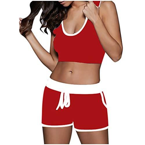 Nyuiuo Yoga Camisola de Ombligo expuesta para Mujer Tops Sexy Pantalones Cortos de Tiras Traje Deportivo de Verano Camisas Casuales y cómodos Pantalones de Fitness