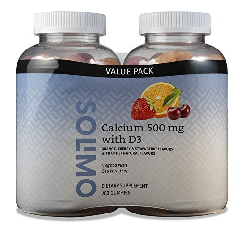 Amazon Brand - Solimo Calcium 500 mg with D3 800 IU per Serving (2 Gummies), 100 Gummies (Pack of 2)